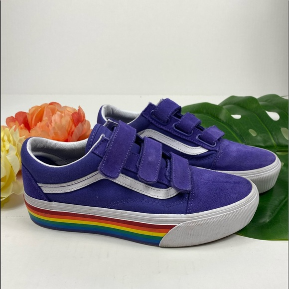 Vans Purple Rainbow Platform Velcro